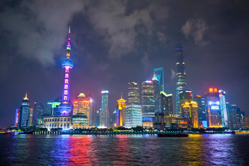 Fotorolgordijn Shanghai 上海 外灘 夜景 Shanghai Nightview Waitan Bund