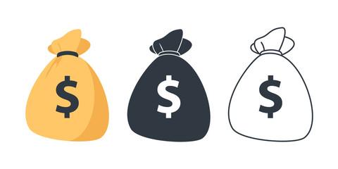 Set of Money bag icons. Line money bag icon , black and white sack, Flat Money bag Vector illustration