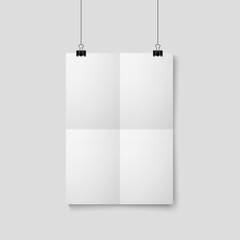 Wall Mural - Empty A4 sized vector paper frame mockup hanging with paper clip
