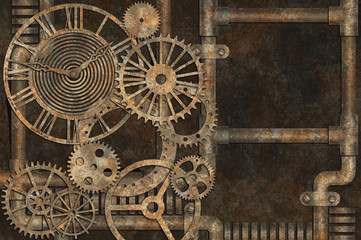 Steampunk grunge background, elements on rusty background