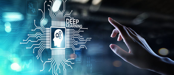 Deep Machine learning Artificial intelligence AI technology concept on virtual screen.