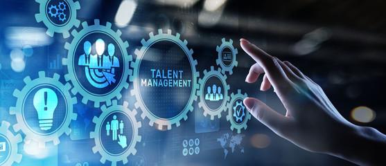 Talent management HR human resources management Team building concept on virtual screen.