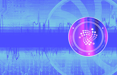 Iota (IOT) digital crypto currency. Сoin on the background of stock indexes. Cyber money.