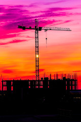 image of  Tower Crane Construction at sunset