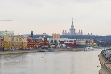 Moscow, Russia - April, 21, 2019: embankment of Moscow river