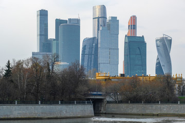 Moscow, Russia - April, 21, 2019: Skyscrapers of Moscow city
