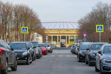 Moscow, Russia - April, 21, 2019: the image of Luzhniki Stadium
