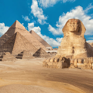 General view of pyramids with Sphinx