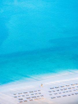 Aerial view Blue sea white beach at Corniche beach. Abu Dhabi. UAE