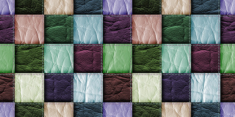 seamless leather patchwork background Fototapete