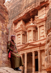 Jordanian Army Soldier in front of The Treasury (Al-Khazneh), Petra, UNESCO World Heritage Site, Ma'an Governorate, Jordan, Middle East