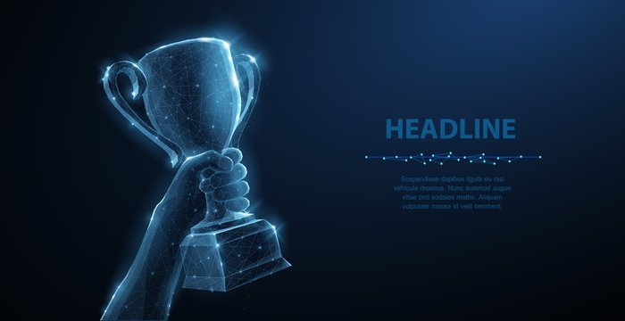 Hand with Trophy cup. Abstract vector 3d trophy isolated on blue background. Champions award, sport victory concept.