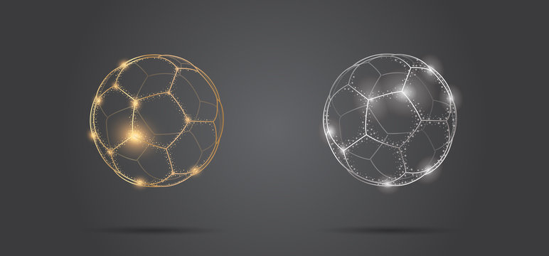 Soccer ball stylized in transparent glowing sphere