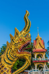 Serpentine dragons on a temple at the Office of National Buddhism, in Phuket Town, Phuket, Thailand, Southeast Asia, Asia