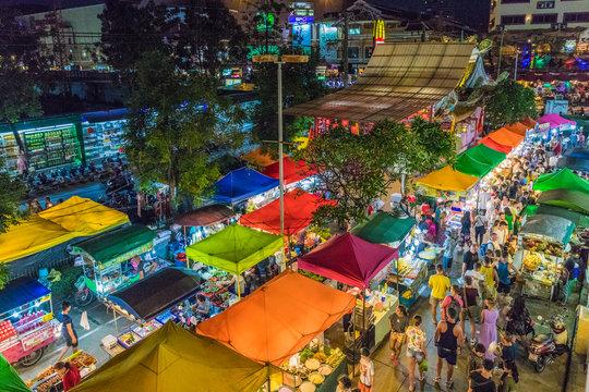 An aerial view of the Banzaan night market in Patong, Phuket