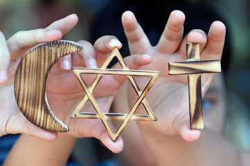 Christianity, Islam, Judaism, the three monotheistic religions with symbols of Jewish Star, Muslim Crescent and Christian Cross, Vietnam, Indochina, Southeast Asia, Asia