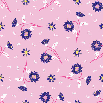 Retro delicate floral daisies seamless pattern. All over print vector background. Pretty summer 1950s fashion style. Trendy vintage wallpaper home decor. Hand drawn flower textile fabric. Purple Pink