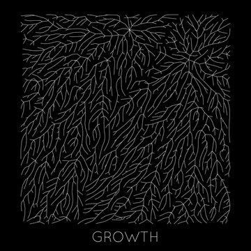 Vector generative branch growth pattern. Lichen like organic structure with veins. Monocrome square biological net of vessels.