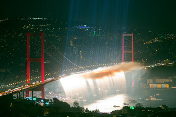 Fotomurales - Bosphorus Bridge and firework