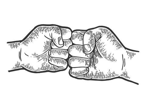 Fist greeting sketch engraving vector illustration. Scratch board style imitation. Black and white hand drawn image.