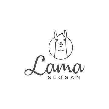 lama line vector illustration logo design