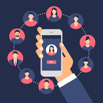 Communication concept with flat icons. Social network. Hardware Icons Set. Collection Of Network Structure, Smartphone, wireless and other elements.