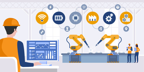 Manager engineer check and control automation robot arms machine in intelligent factory