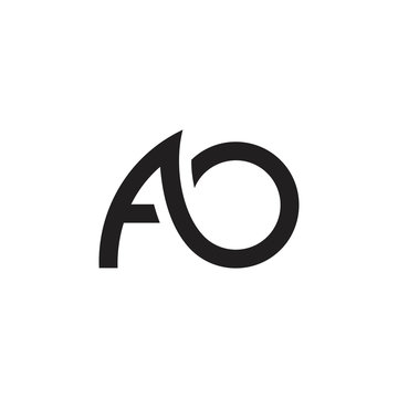 letters ao simple curves geometric line logo vector
