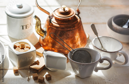 Kitchen Still Life With Copper Kettle And Ceramic Utensils
