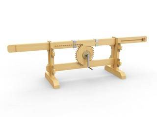 A mechanism used to change the rotational movement to a linear motion. Leonardo da Vinci, Codex Madrid I / 0002r.
