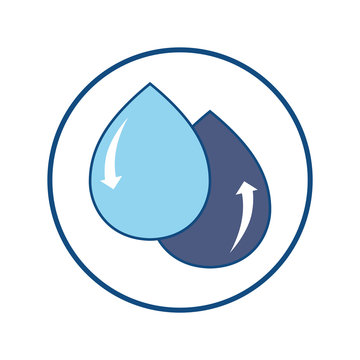 Water recycling concept. Water conservation metaphor. Symbol of water reuse. Vector illustration outline flat design style.