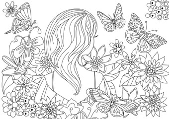 Fototapete - pretty girl in fancy flowers with butterflies for your coloring