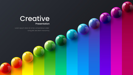 Amazing abstract vector 3D colorful balls illustration template for poster, flyer, magazine, journal, brochure, book cover. Corporate web site landing page minimal background and banner design layout.