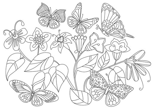 fancy flowers with butterflies for your coloring book