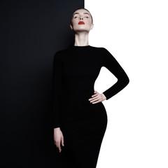 Poster womenART Elegant blode in geometric black and white background