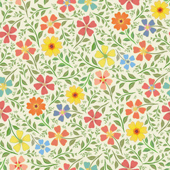 Red, yellow, blue and orange hand drawn flowers in dense vintage style design.. Seamless vector pattern on cream background. Perfect for packaging, wellness products, fabric, stationery, gift wrap