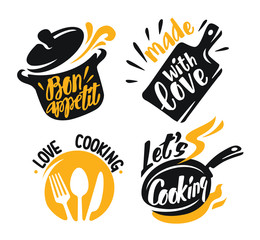 cooking lettering elements icons on white