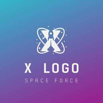 x initial space force logo design galaxy rocket vector in gradient background