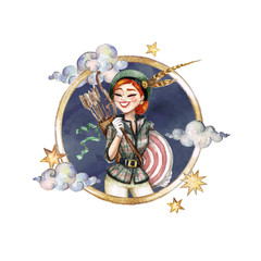 Sagittarius - Zodiac Symbol. Watercolor Illustration.