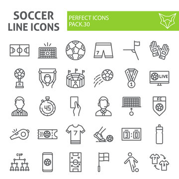 Soccer line icon set, football symbols collection, vector sketches, logo illustrations, sport game signs linear pictograms package isolated on white background.