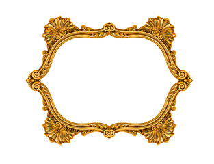 Gold vintage frame isolated on white, including clipping path