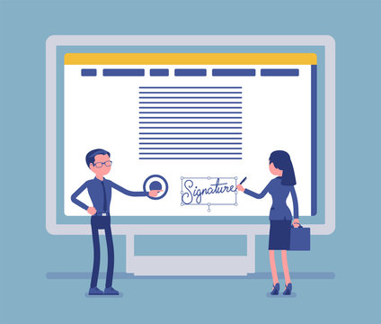 Electronic signature on PC screen. Esignature technology for male and female business partnership sign agreement, safe e-commerce data in electronic form. Vector illustration, faceless characters