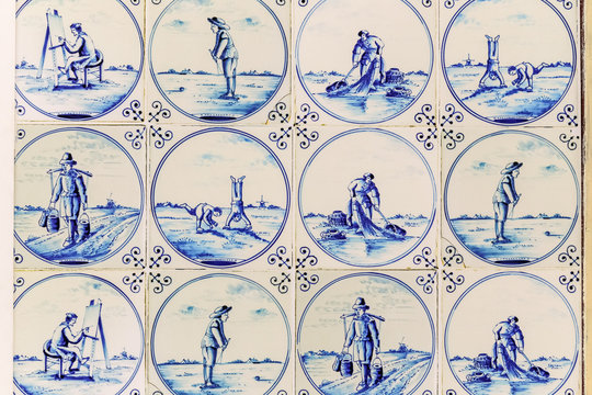 Ceramic wall tiles. Hand painted blue ceramic tiles in Delft with a variety of different scenes