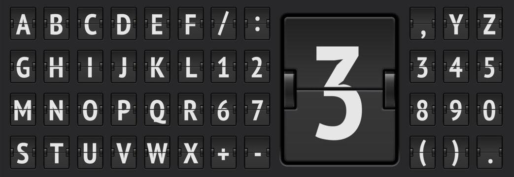 Terminal flip board font for flight destination and timetable vector illustration.