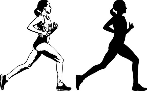 female runner sketch and silhouette