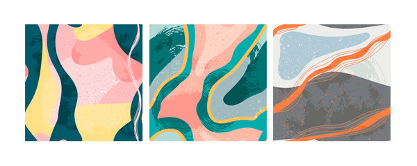 Set of three hand drawn abstract contemporary seamless patterns. Smooth lines. Stone texture. Modern trendy colorful illustration in vector. Marbleized effect. Every pattern is isolated