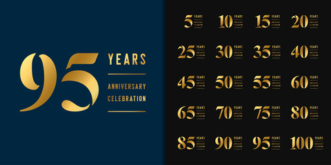 Set of anniversary logotype. Golden anniversary celebration emblem design for company profile, booklet, leaflet, magazine, brochure, web, invitation or greeting card.