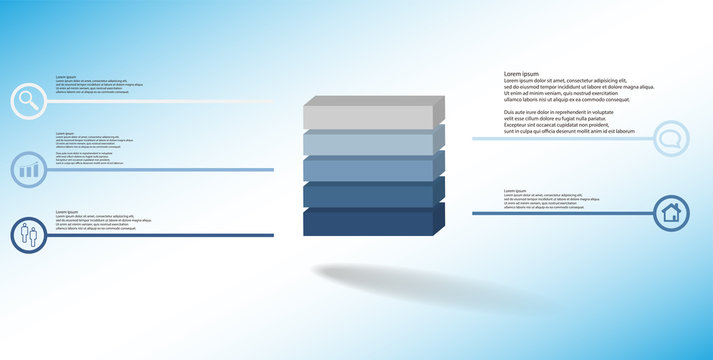 3D illustration infographic template with embossed cube divided to five parts