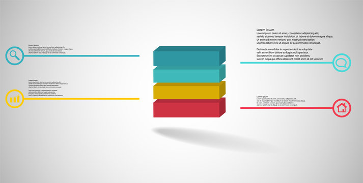3D illustration infographic template with embossed cube divided to four parts