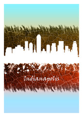 Wall Mural - Indianapolis skyline Blue and White